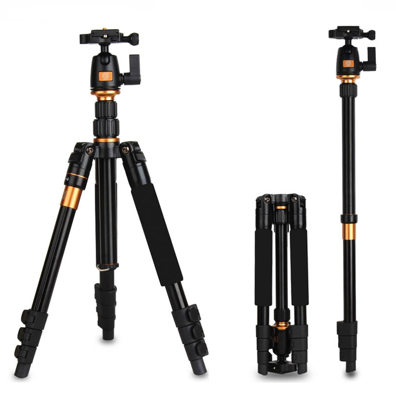 QZSD Q555 Professional Aluminum Tripod for Canon Nikon Sony DSLR SLR Camera with Ball Head Max loading 8KG Tripod to Monopod