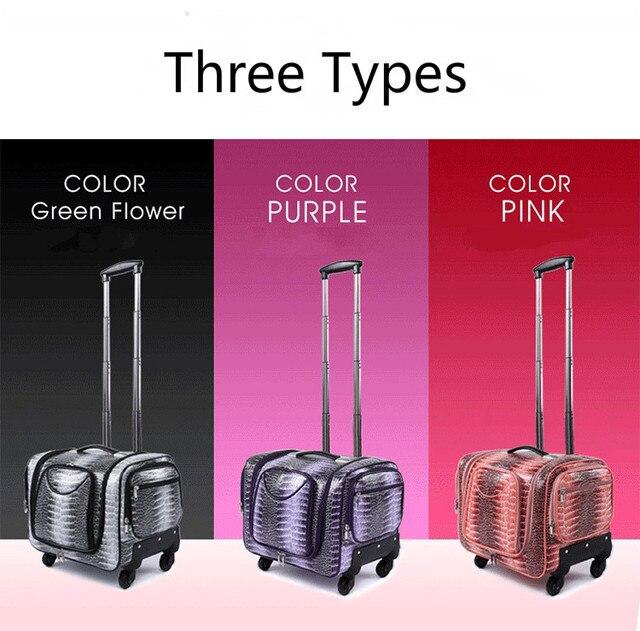 Três cores de maquiagem casos de grande capacidade de multi - camada saco do trole da bagagem mala coreano caixa de armazenamento de cosméticos kit