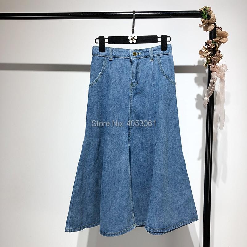 Blue Blue Women Ladies Jean Denim Vintage Pic1 light High Skirt Pic2 2018 Summer Long Flared New Waist blue Casual Dark As Fantastic Aline nUqvnEYI