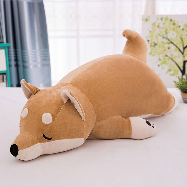Cotton Lying Plush Pillow Stuffed Dog Big Toys Doll Eiderdown Pop Lovely Animal Children Birthday Gift Corgi Plush Toy Pillow