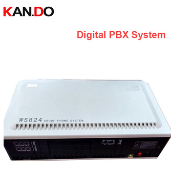 WS824 416 Digital PBX System telephone box 4+16 lines telephone switch ok Max. 64 extension lines & 8 outer lines RS232 function
