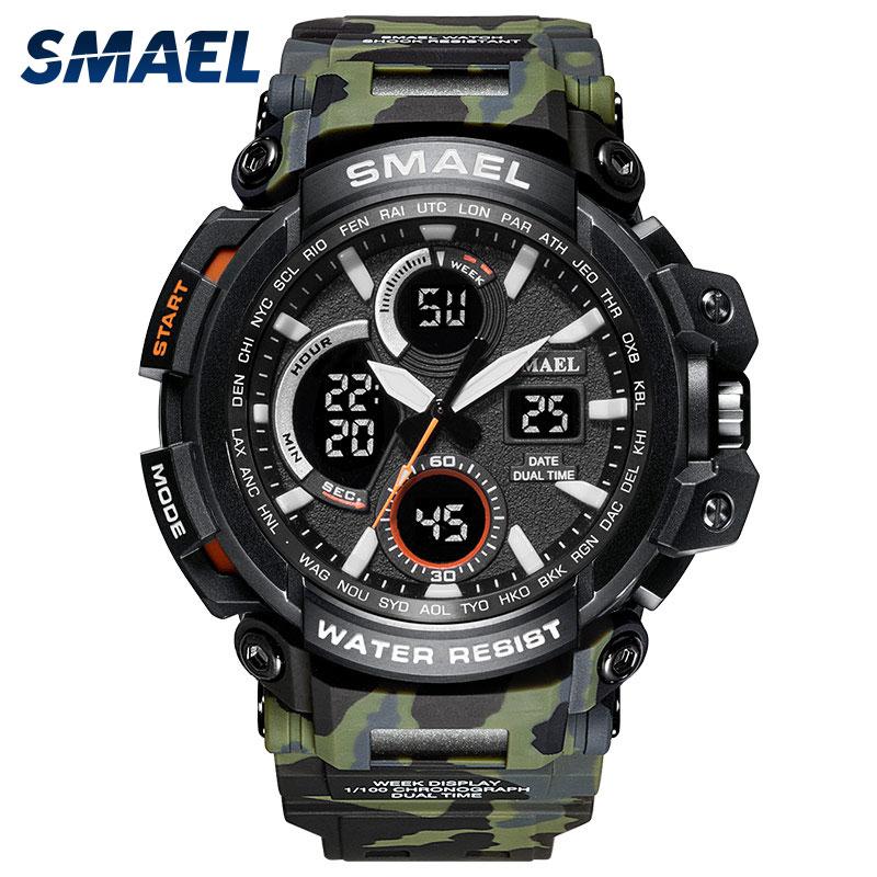 SMAEL New Camouflage Man Sport Watches waterproof 2018 water resistance military men's sports watch 1708B digital wrist Clock