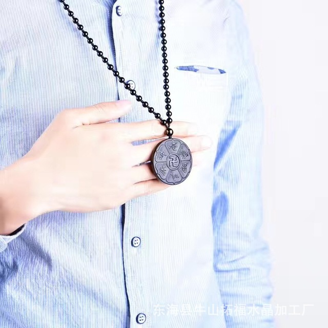 Natural Black Obsidian Mantra Pendant Six Word Carving Feng Shui Pendant Buddha Jewelry For Men And Women