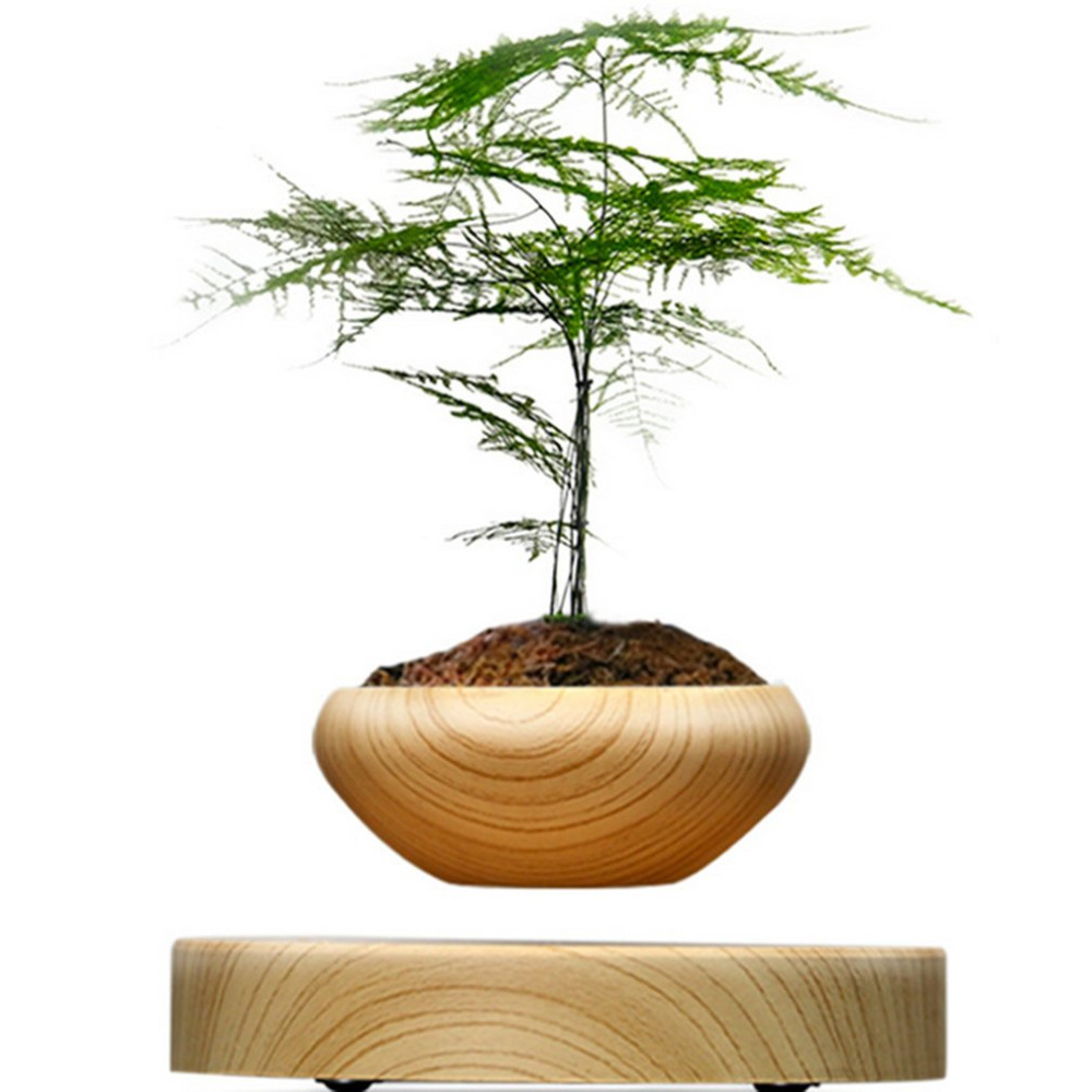 EU UK AU US Plug Magnetic Suspended Potted Plant Wood Grain Round LED Levitating Indoor Air Plant Pot No Plant Drop Shipping louis garden artificial flowers fake rose in picket fence pot pack small potted plant
