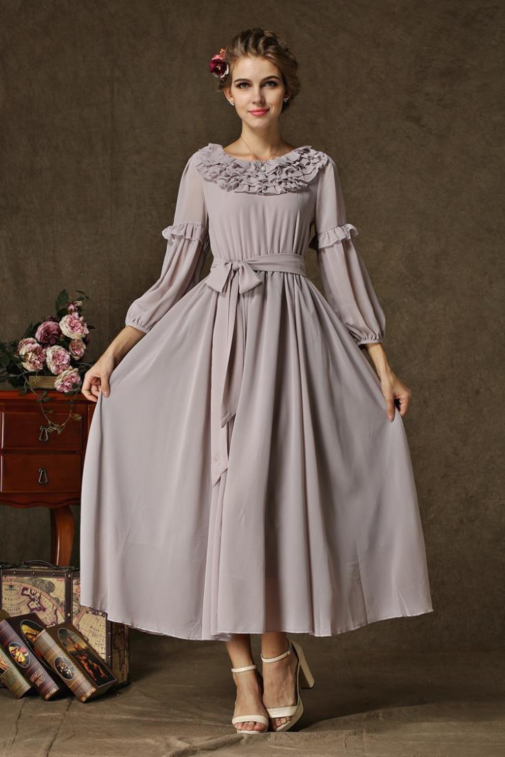 Silk Chiffon Long Party Dresses