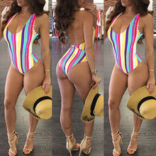 Women Sexy One Piece Swimsuit Rainbow Striped Bathing Suits Backless