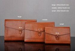 Genuine Leather Dress men's Messenger Bag Document Bags briefcase male men leather bag handbags file folder padfolio 1231A