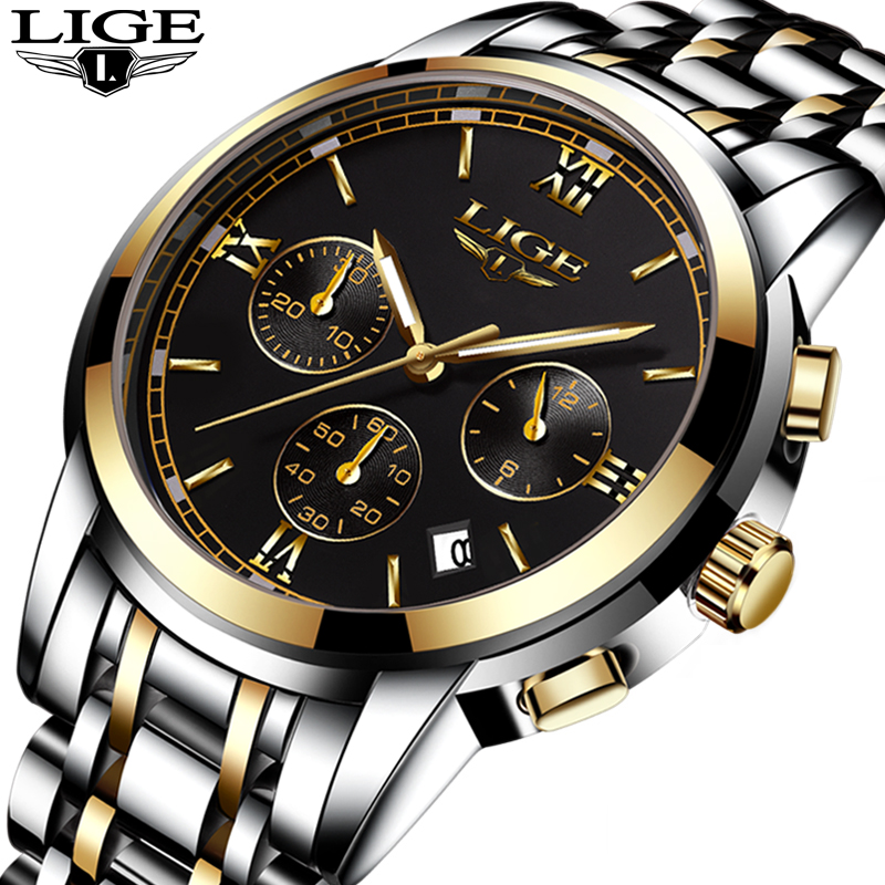 LIGE Men watch Luxury Brand Fashion Business Quartz Watch Men Six Pin Sport Waterproof Clock Man watches Full Steel Wristwatches lige mens watches top brand luxury man fashion business quartz watch men sport full steel waterproof clock erkek kol saati box