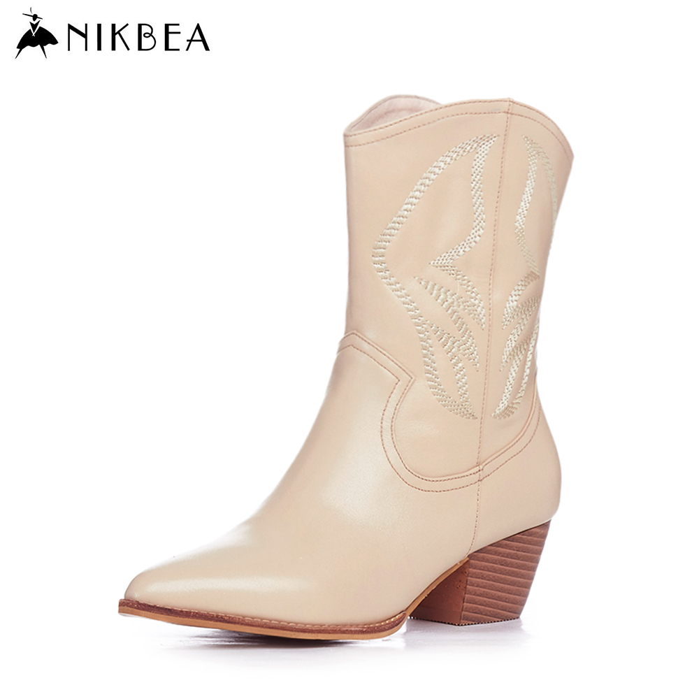 Nikbea Handmade Genuine Leather Western Boots Cowboy Large Size Women Pointed Toe Boots 2016 Autumn Shoes Fashion Botas Mujers nikbea handmade genuine leather western boots cowboy large size women pointed toe boots 2016 autumn shoes fashion botas mujers