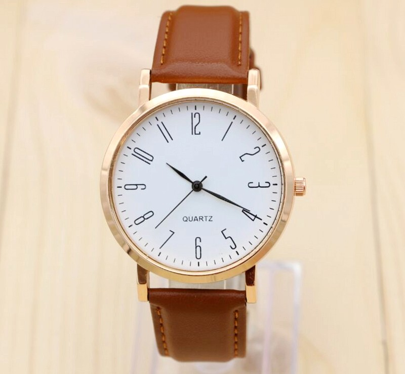 2017 new Unisex Fashion Watch Men Women Couple Watches Leather Quartz Wrist Watch Casual Design Simple No LOGO Ladies clock Y15 2016 new ladies fashion watches decorative grape no word design gold watch stainless steel women casual wrist watch fd0107