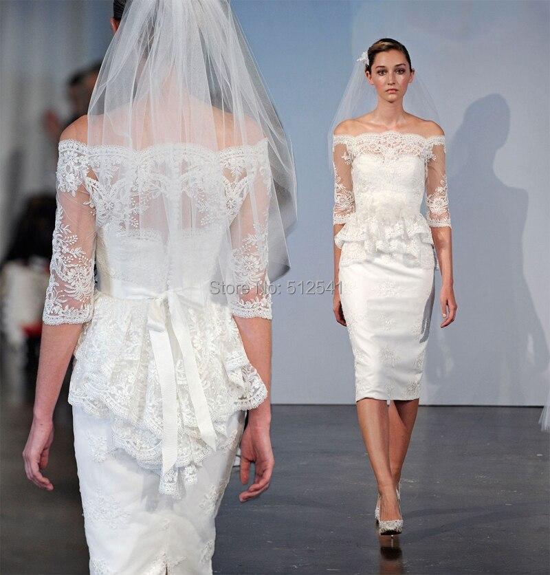 Fashion Half Sleeve Short Wedding Dresses Lace Mermaid