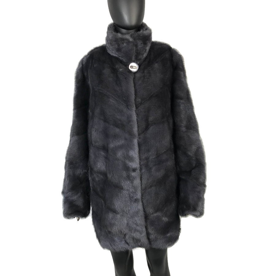 middle long darkgray striped new style coat jacket natural mink fur coat Elegant Women Winter Outwear with standing collar lux