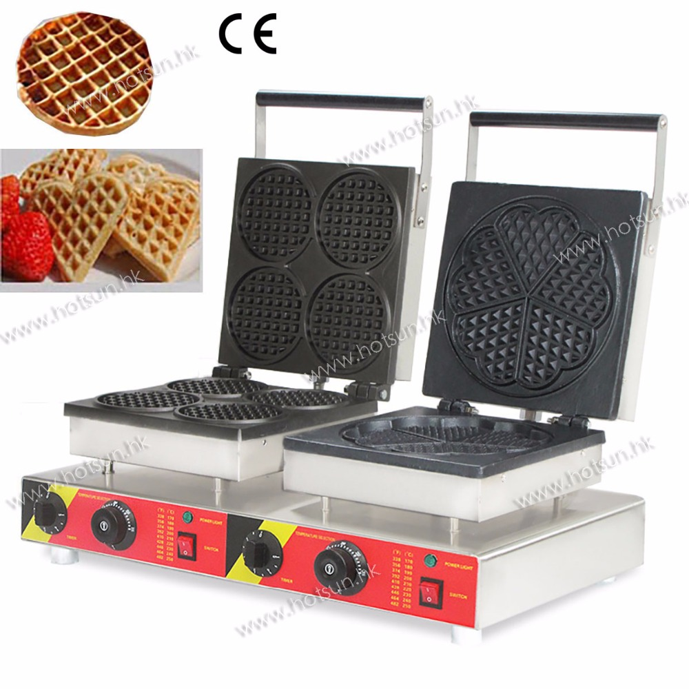 Double-Head Commercial 110V 220V Electric Heart & Round Waffle Maker Machine Iron Baker directly factory price commercial electric double head egg waffle maker for round waffle and rectangle waffle