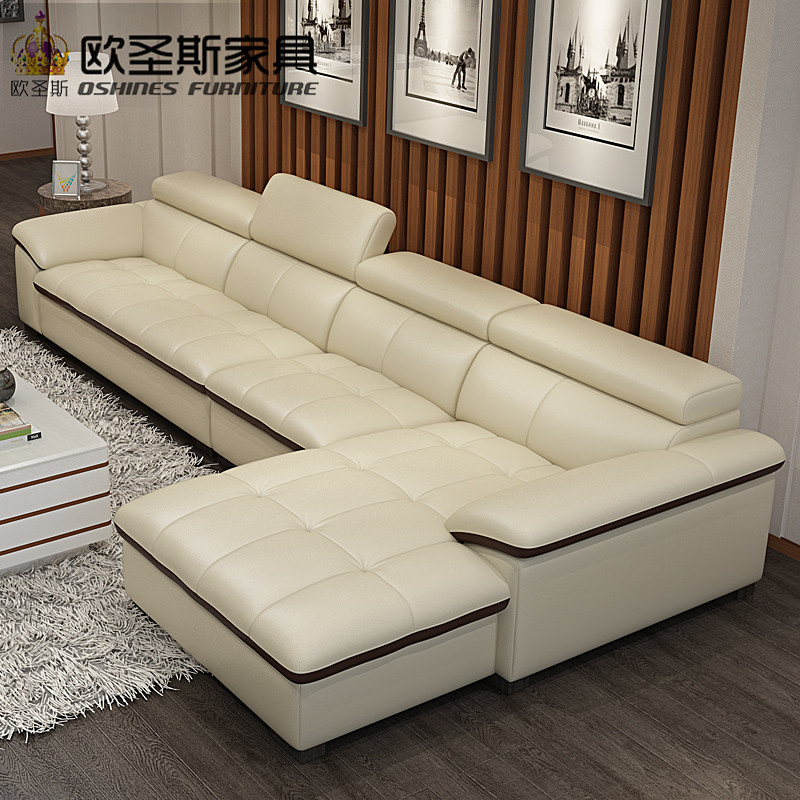 Gallery White Leather L Shaped Sofa: Modern Sectional Livingroom Beige Genuine Leather Sofa Set