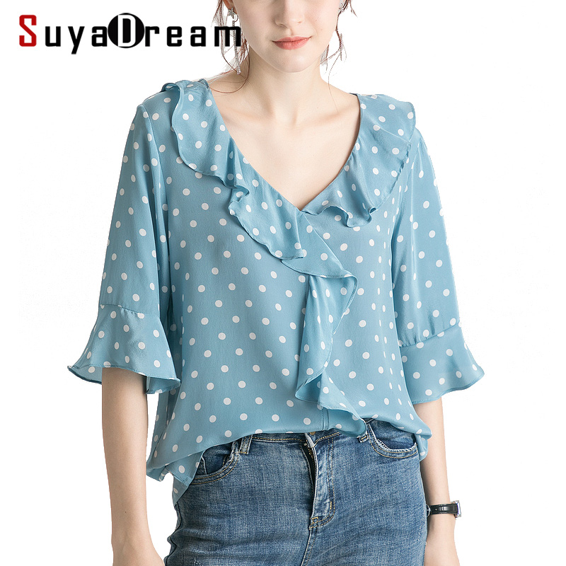 Women Blouse 100% REAL SILK Crepe Blue Dots Printed Blouse Shirt Half Butterfly Sleeved V Neck Blouses 2019 Summer Shirt