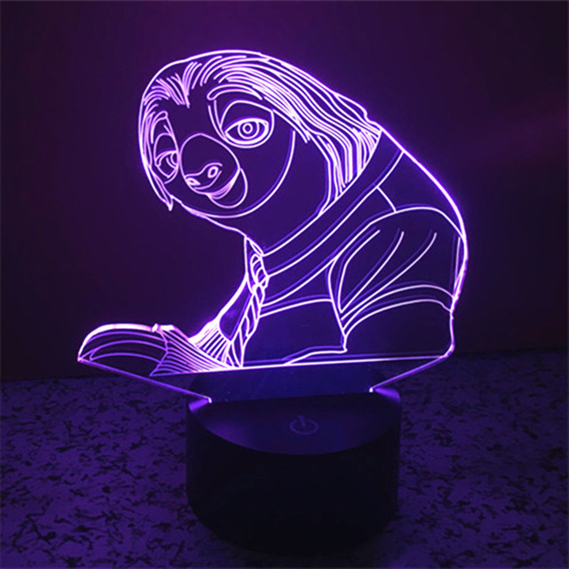LED 3d Night light Crazy Animal City Sloth 3D Lamp Novelty Luminaria Acrylic Touch Swith bedroom living room Visual lights Gift