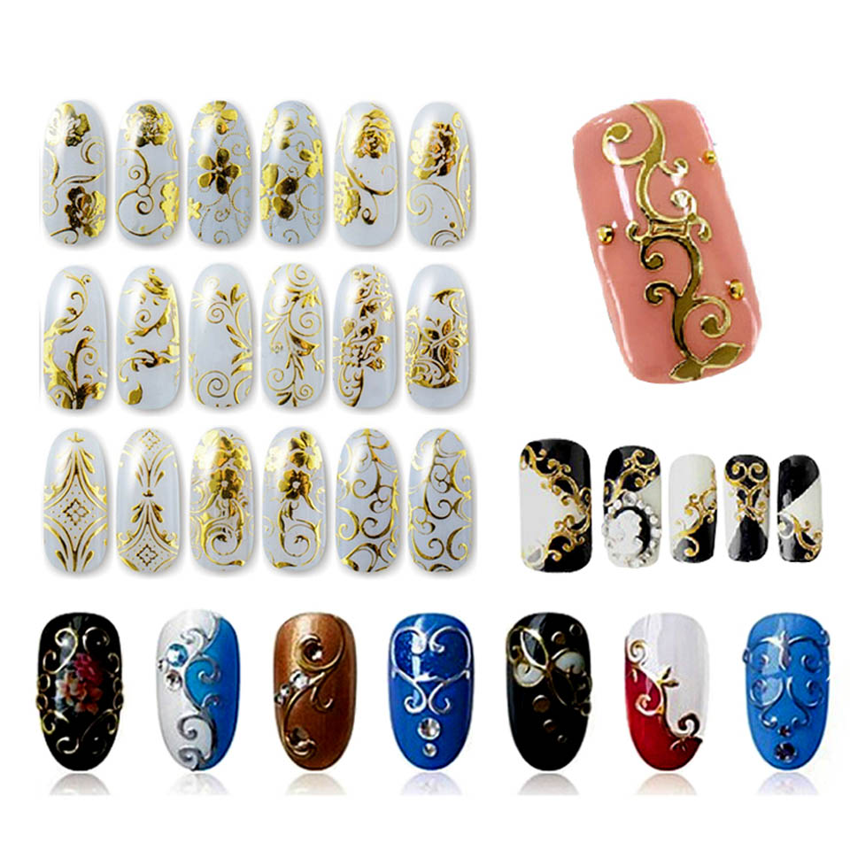 108 Design Sliders for Nails Stickers Gold Decals Wraps Sticker on The Nails 3D Nail Art Stickers for Nails MANICURE ZJ1106 108 design gold foil flowers stickers for nails 6 color metal bronzing decal metallic 3d stamping nail art sticker tips deco