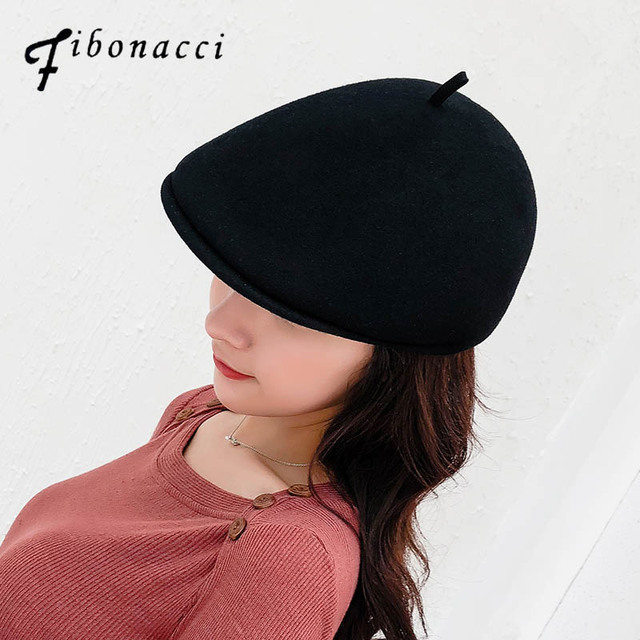27754002339be Fibonacci 2018 New High Quality Retro Adult Berets Men Wool Felt Cabbie Hats  for Women s Newsboy Caps