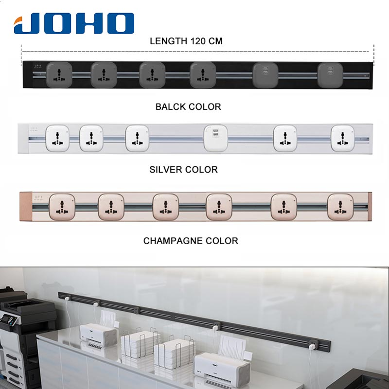 JOHO 120CM prise rectangulaire prise électrique murale USB chargeur adaptateur prise ue prise interrupteur prise de courant panneau de prise 250V
