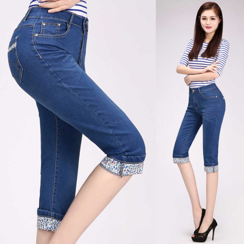 Plus Size Skinny Women's   Jeans   Pencil Pants 2019 Summer Blue Denim Dot High Waisted Knee Length Stretch Capris for Women   Jean