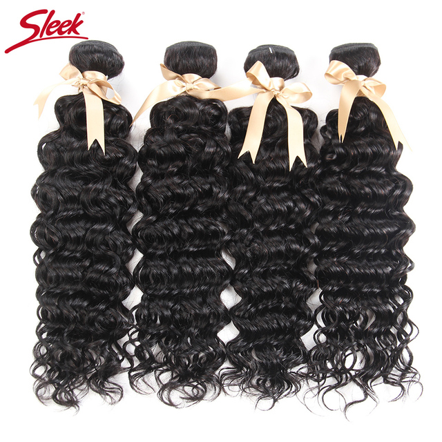 Indian Water Wave 4 Bundles Sleek Human Hair Weave 10 28 Inches Remy