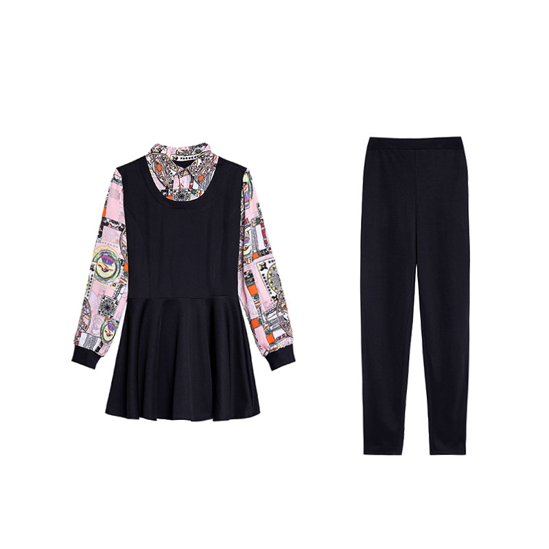 L-5xl 2019 Black Printed Two Piece Sets Women Plus Size Fake Two Pieces Tunics Tops And Pants Suits Elegant Korean Office Sets 27