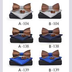 RBOCOTT Handmade Wooden Bow Tie Handkerchief Cufflinks Set Men's 3D Bow Tie Wood Pocket Square with Box Fashion For Men Wedding 2