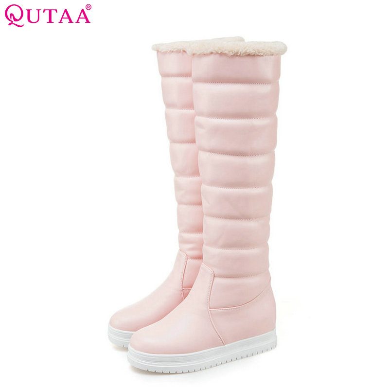 QUTAA 2018 Fashion Women Knee High Boots Witer Snow Boots Slip on Round Toe Wedges Heel Pu Leather Women Boots Size 34-43 цены онлайн