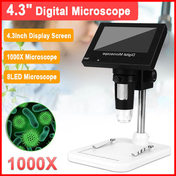 """Portable 8 LED VGA Microscope 1000X USB Digital Electronic Microscope With 4.3"""" HD OLED Screen For PCB Motherboard Repair"""
