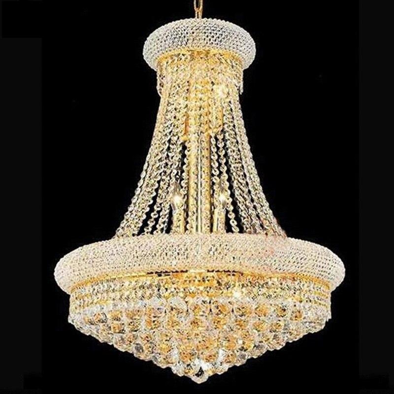 Классический Винтаж Роскошные хромированный Хрустальный люстра, светильник для гостиницы Гостиная Led K9 хрустальная люстра Art лампы