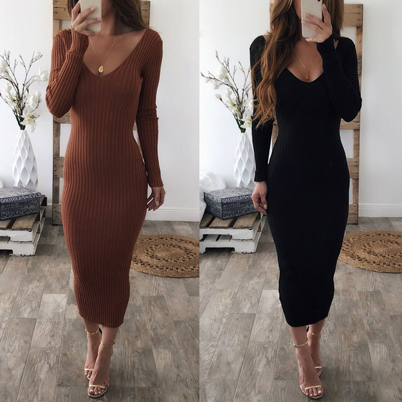 Hot Sale Autumn Winter Knitted Sweater Dresses Women Sexy V Neck Long  Sleeve Pencil Dresses Elastic b94151213