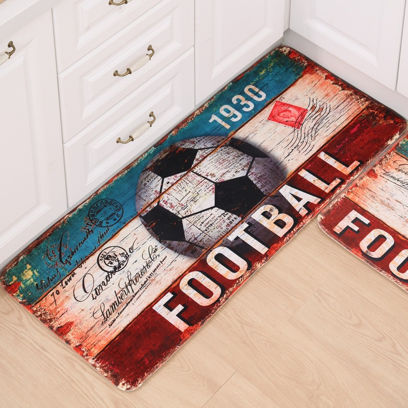 Fashion Football Flannel Printing Carpet Welcome Doormat