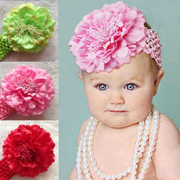 Baby Peony Flower Crown Hair Clip With Stretchy Crochet Headbands