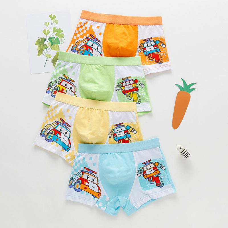4 Pcs/lot Cartoon Car Kids Boy Underwear For Baby Children Boxer Cotton Underpants Briefs Boy Underwear Pants For 2-15 Y