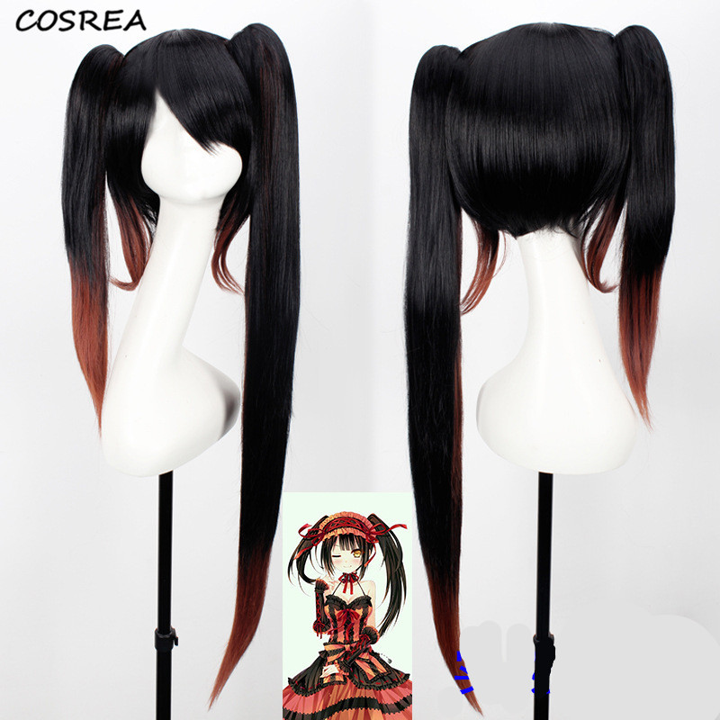 Anime DATE A LIVE Tokisaki Kurumi Cosplay Costumes Heat Resistant Synthetic Wig Black Brown Gradient Sexy Synthetic Hair Wigs