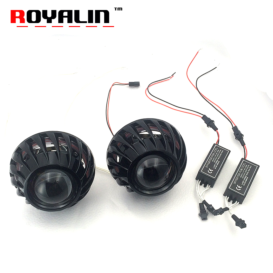 ROYALIN H1 Metal Projector Lens 2.5 inch Bi-Xenon HID Headlight Lens CCFL Halo Rings White Angel Eyes for Mini Turbine Shrouds royalin car styling hid h1 bi xenon headlight projector lens 3 0 inch full metal w 360 devil eyes red blue for h4 h7 auto light