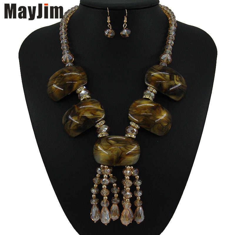 Vintage cristal azul colar conjuntos de jóias borlas punk grande acrílico grânulo bohemia corrente de ouro conjuntos de jóias de noiva moda feminina