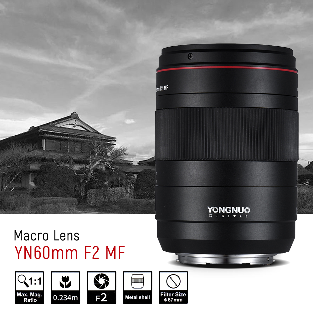 YONGNUO YN60mm F2 Macro lens fixed focus Lens MF 0.234m macro Manual Focus for Canon EOS 80D 5D4 5D3 800D 77D DSLR cameras 85mm f1 8 aluminum alloy manual focus lens set for canon black
