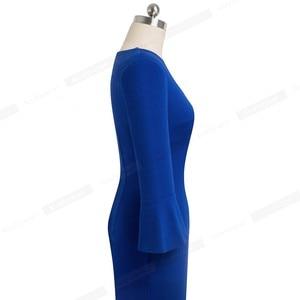Image 3 - Nice forever Elegant Pure color Sexy V neck vestidos Business Party Bodycon Vintage Women Sheath Dress B541