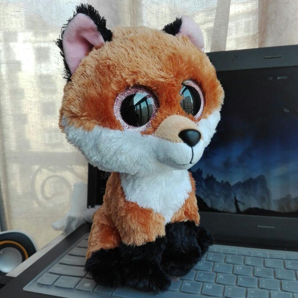 TY BEANIE BOOS 1PC 10  25CM BIG EYE Slick Fox brown fox Plush Toys Stuffed  animals KIDS TOYS VALENTINE GIFT 21e3147bbb47