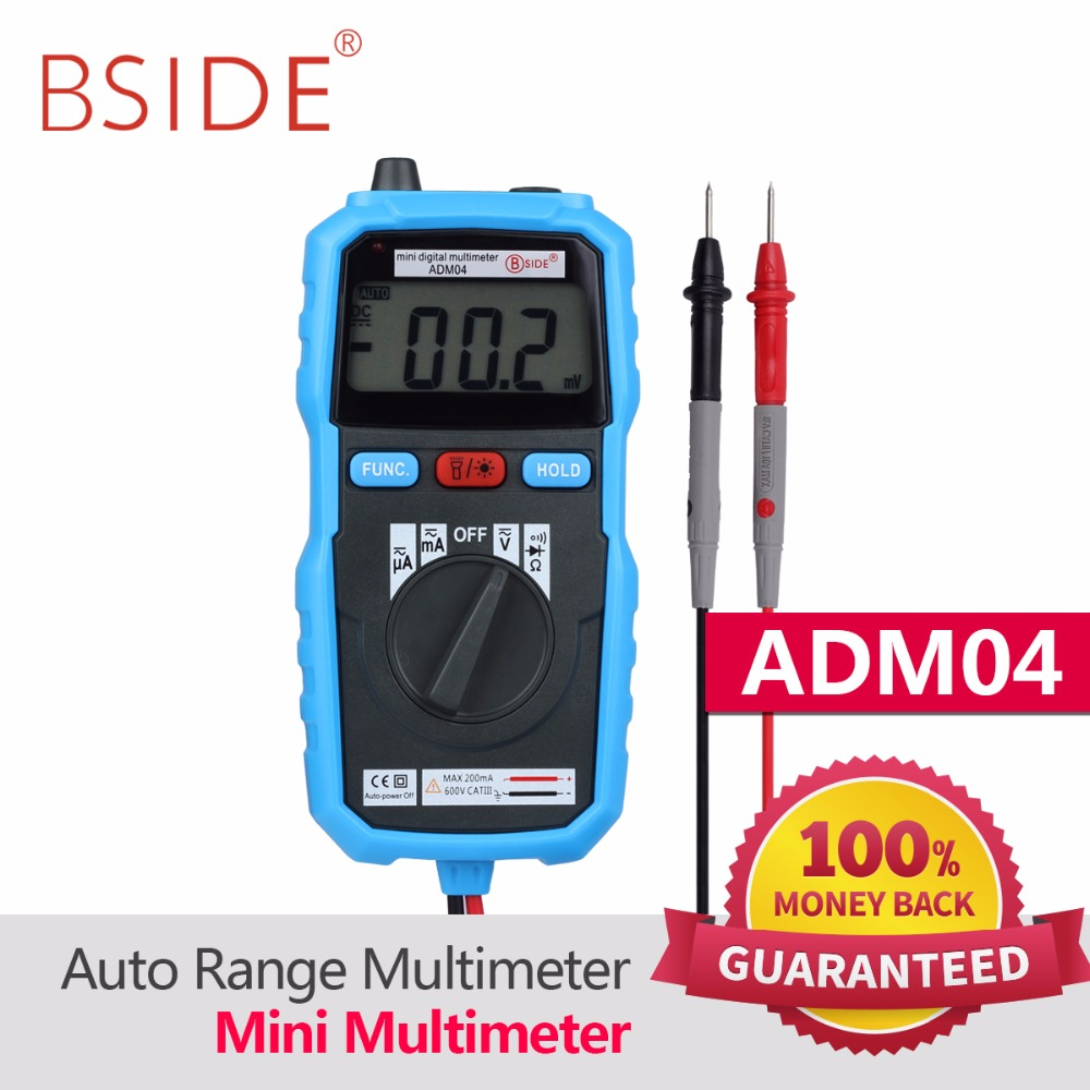 BSIDE ADM04 Mini Digital Multimeter DC AC Voltage Current Meter Ammeter Multi Tester Non-contact Voltage Alarm PM8232 bside adm04 lcd digital multimeter mini pocket 2000 counts dmm dc ac voltage current meter diode tester auto ranging multimetro