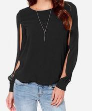autumn large size 5XL Solid color Female T-shirt top Cuff bifurcation chiffon long-sleeved T-shirt women's clothing