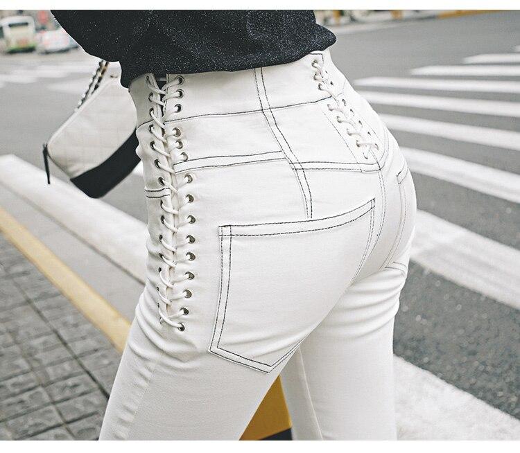2019Spring Fashion Trousers Denim High Waist Sides Lace Up Slim Fit White Pencil Long Pants Jeans