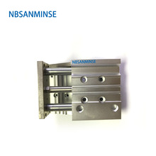 NBSANMINSE MGPL Bore 32mm Compressed Air Cylinder SMC Type ISO Compact Miniature Guide Rod Double Acting