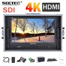 IPS SEETEC P173 9HSD CO 17.3 Polegada 3G SDI 4K HDMI Broadcast Monitor com AV YPbPr Diretor de Carry on LCD Monitor com Mala de viagem