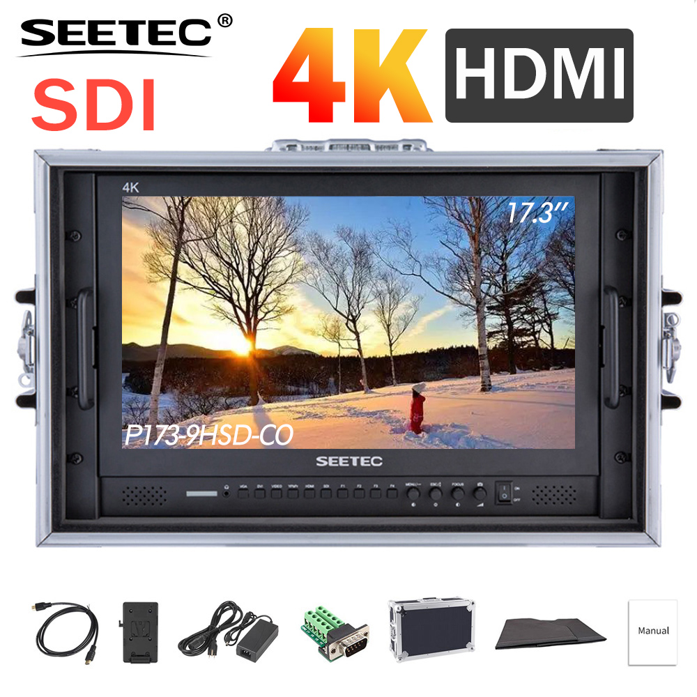 SEETEC P173-9HSD-CO 17.3 Inch IPS 3G-SDI 4K HDMI Broadcast Monitor With AV YPbPr Carry-on LCD Director Monitor With Suitcase