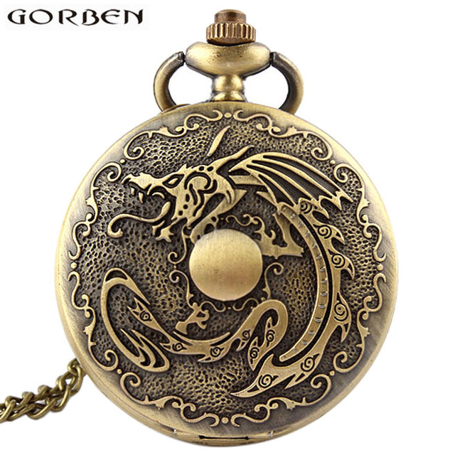 Anime Japan Natsu Fire Dragon Pocket Watch With Chain Antique Bronze Color Flip