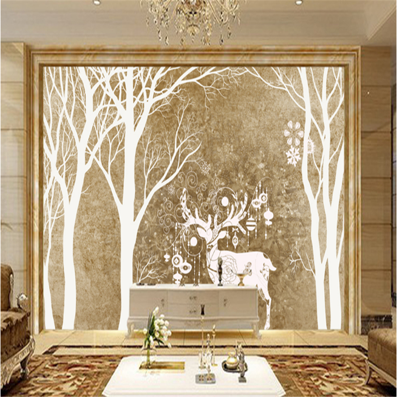 Custom Wall Mural Wallpaper Forest and Elk Minimalism Embossed Non-Woven Wall Embossed Non-Woven Modern Bedroom Wall Paper Roll modern personalized non woven wall paper roll exotic wallpapers geometric for bedroom living room walls wall mural paper contact