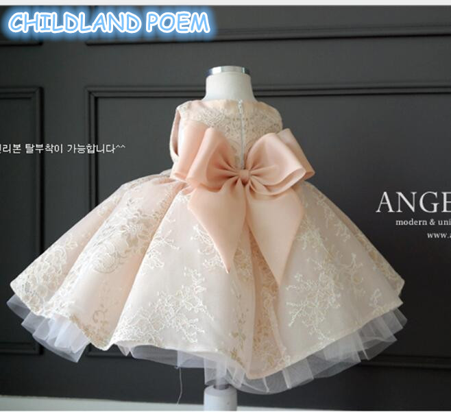 Baby Girls Dress For Wedding Party Kids Lace Princess Girl Dress 10 to 12 years Flower Teenager Dresses For Girls with Bow new fashion embroidery flower big girls princess dress summer kids dresses for wedding and party baby girl lace dress cute bow