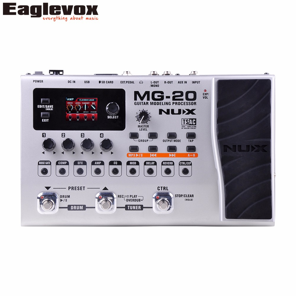 NUX MG-20 Guitar Modeling Processor Drum Pattern Switch Pedal Solo, tapo, Delay nux mg 20 electric guitar multi effects pedal guitarra modeling processor with drum machine eu plug